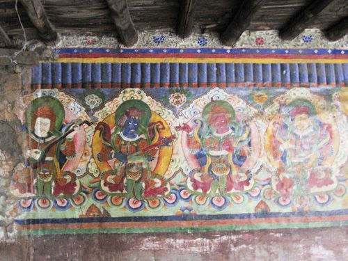 Images of the Four Great Kings (guardians of the four cardinal points) in Tetang gompa