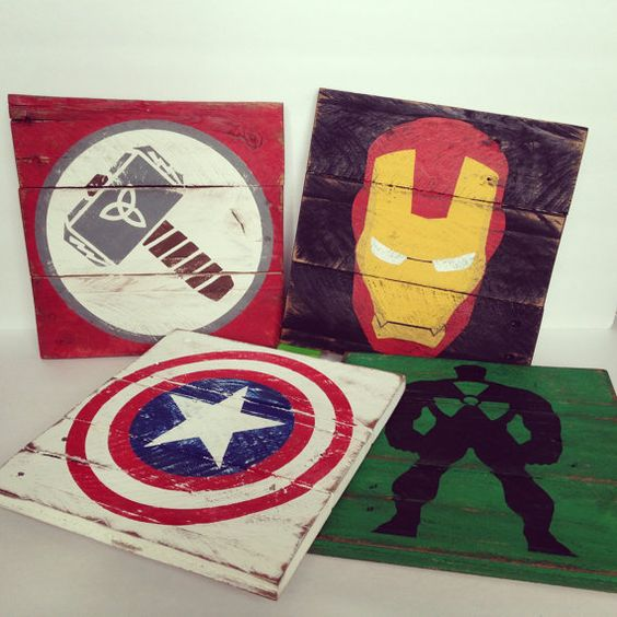 Vintage Super Hero wood signs 10 1/2 Wide x 10 1/2 Tall  Pick any of your favorite superheros! They look so cute as a trio on the wall