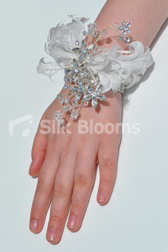 Wedding Bouquets With Feathers And Crystals : Wrist corsage crystal brooch and bouquet flowers on