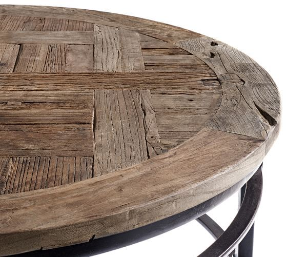 Parquet Reclaimed Wood Round Coffee Table Pottery Barn Ikea Pinterest Reclaimed Coffee