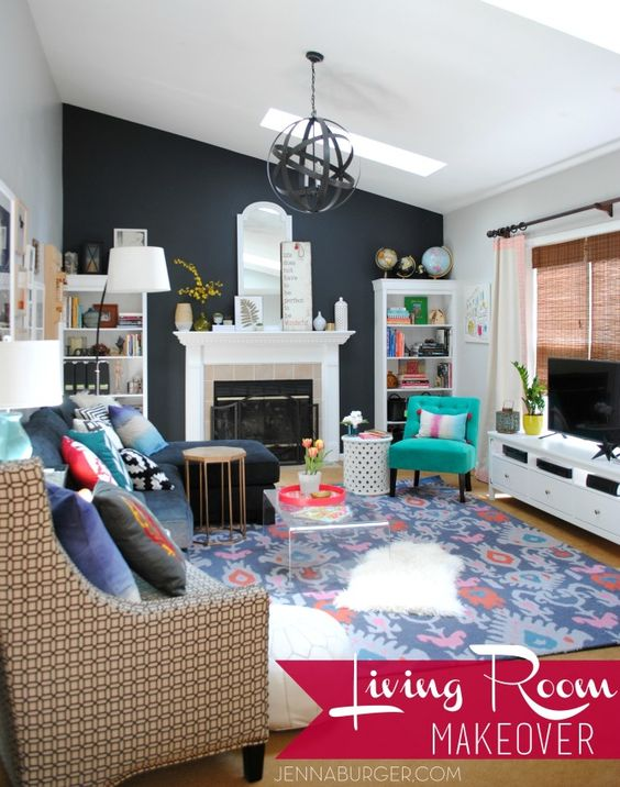 Living room makeover with bold black pops of color for Bold living room ideas
