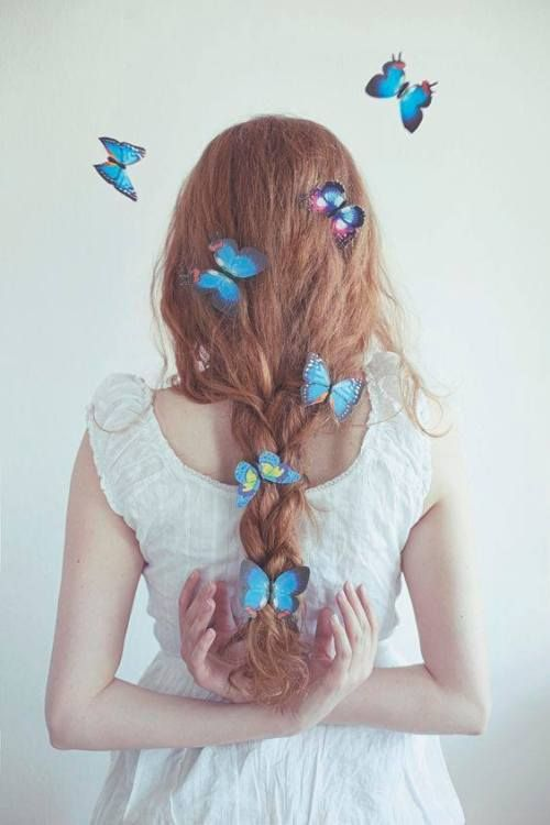 butterflies in her hair