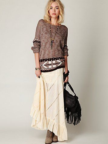 """Replace lazy-day jeans with maxi skirt and slouchy sweater.  It's sort of a modern day """"Stevie Look!"""""""