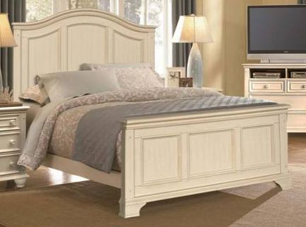 Kane's Furniture - Montclair White Linen King Arched Panel Bed