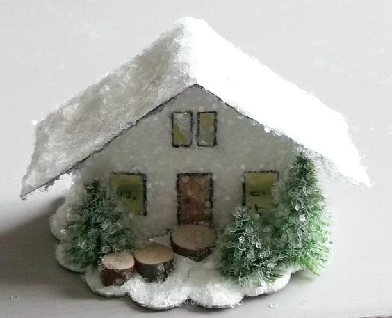 Vintage Retro Putz Style Miniature Winter by TheUglyDuckling1962, $18.00