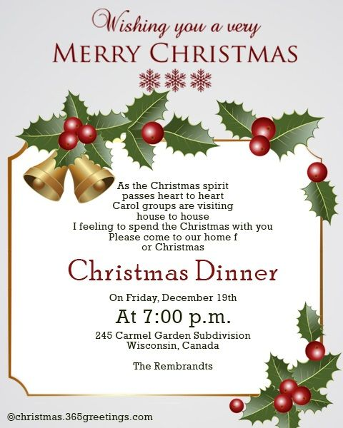 Christmas Invitation Template And Wording Ideas Christmas Celebration All About Christmas Christmas Dinner Invitation Dinner Invitation Template Elegant Christmas Invitation