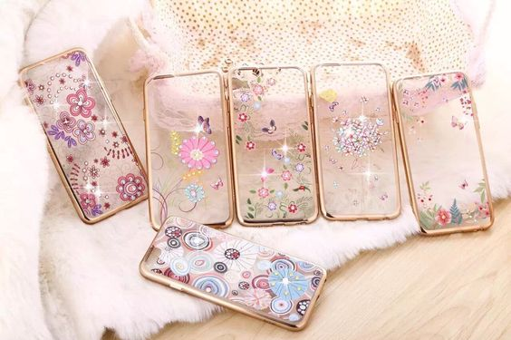 iPhone 6 series soft tpu printed colorful cell phone cover diamond protective phone shell