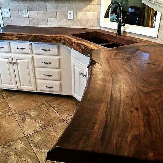 Solid wood counter top. Traditional, classy and very unique! Absolutely stunning!