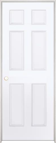 Mastercraft 28 x 80 primed woodgrain 6 panel int door rh at menards reg size 62 for Mastercraft prehung interior doors