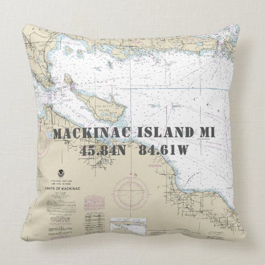 Nautical Latitude Longitude Mackinac Isl Michigan Throw Pillow Zazzle Com Mackinac Mackinac Island Throw Pillows