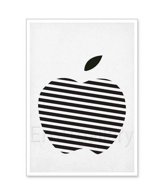 affiches r tro de fruits noir et blanc ray apple design minimaliste cuisine art publicit. Black Bedroom Furniture Sets. Home Design Ideas