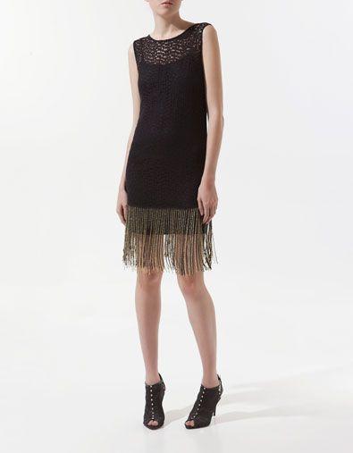 Zara. DRESS WITH DIAMANTE AND FRINGING ON THE HEM  $129.00