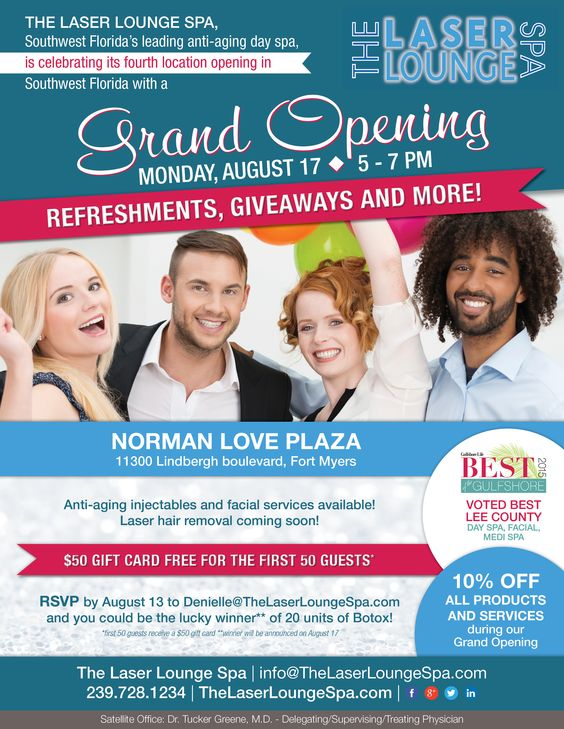 The Laser Lounge Spau0027s Norman Love Plaza Grand Opening Flyer - grand opening flyer