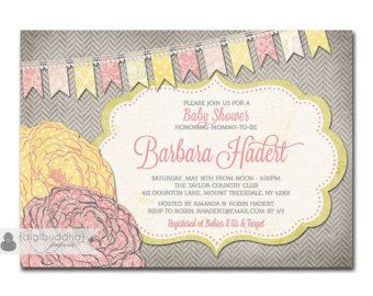 Baby Shower Invitation Pink & Yellow Baby Girl Rose Flower Bunting Pennant Invite DIY Printable or Printed - Barbara Style