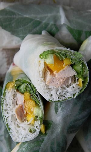 Pork and Mango Fresh rolls with Spicy Sun Butter Coconut Dipping Sauce
