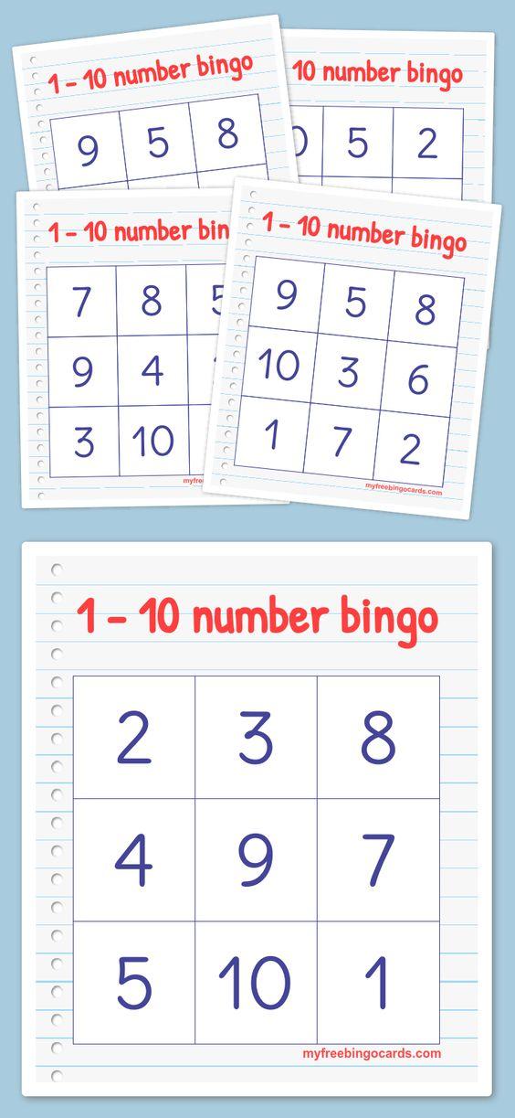 Free printable 1-10 number bingo cards. Perfect for kindergarten or preschool.