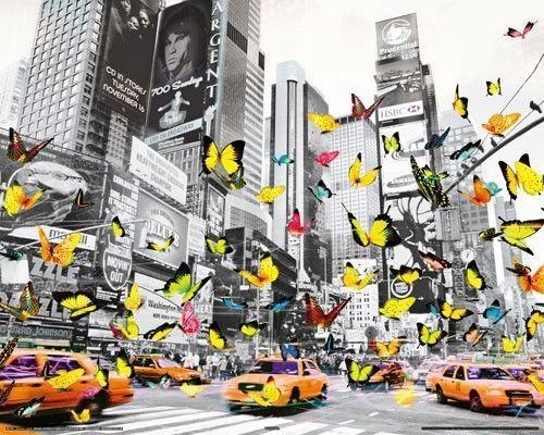 Poster Manhattan Butterfly Schmetterling New York 40x50