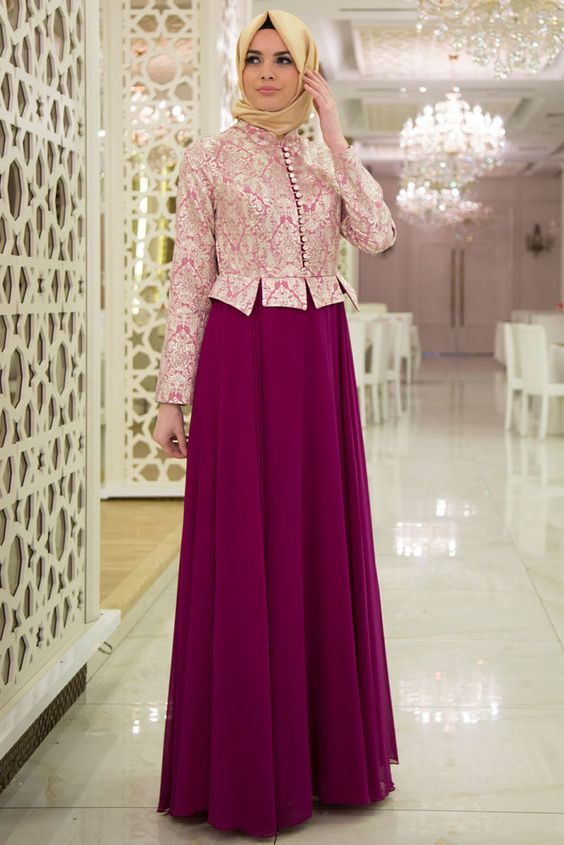NEVASTYLE - Evening Dress - Patterned Fuchsia Hijab Dress -7128F