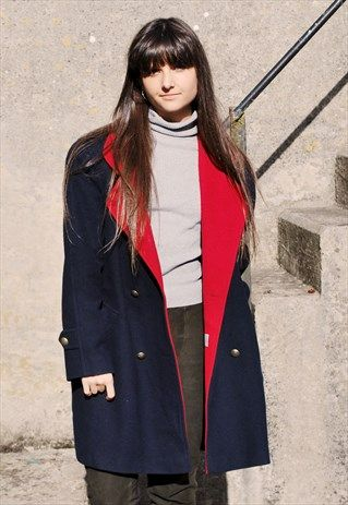 Vintage 90s Two Tone Winter Coat #winter #christmas #military #90s