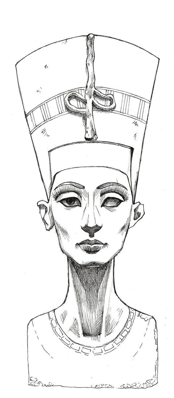 Line Drawing Queen : Nefertiti sketch lines by mybonsaipatroclo on