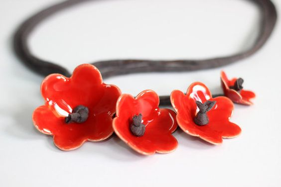 Red flowers Necklace  Elegant and playful ceamic by TzadSheni