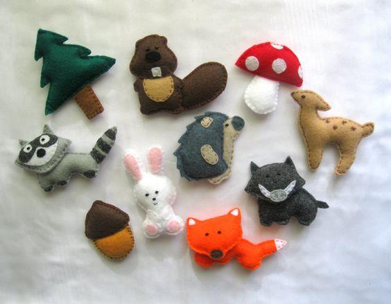 Felt Forest Animals Magnet Stuffed PART1 - Fox , Raccoon , Hedgehog , Bunny , Beaver , Boar , Fir-tree , Mushroom , Acorn , Bemby - Baby Toy. $49.99, via Etsy.