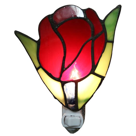 Plug In Tiffany Wall Sconces : Warehouse of Tiffany Francoise 1-light Red Stained Glass Tulip 6-inch Plug-in Wall Sconce with ...