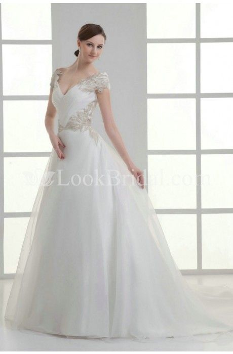 popular line princess shoulder chapel train organza wedding dress with ruffle