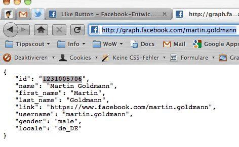 Eine aufegeloeste ID in Facebook