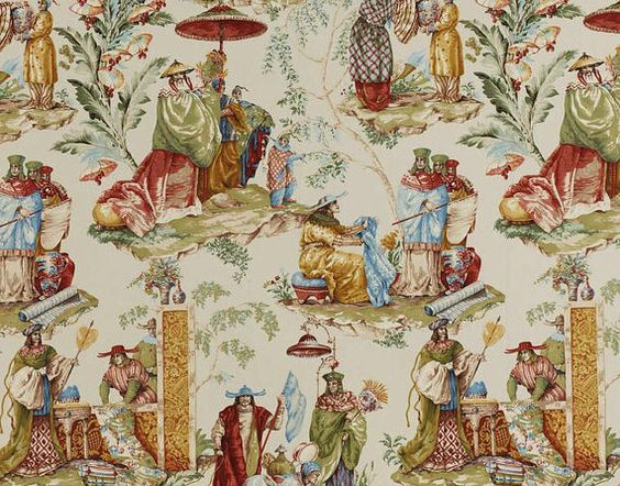PIERRE FREY CHINOISERIE Le Marchand D'Etoffes Toile Fabric 10 yards  Multi