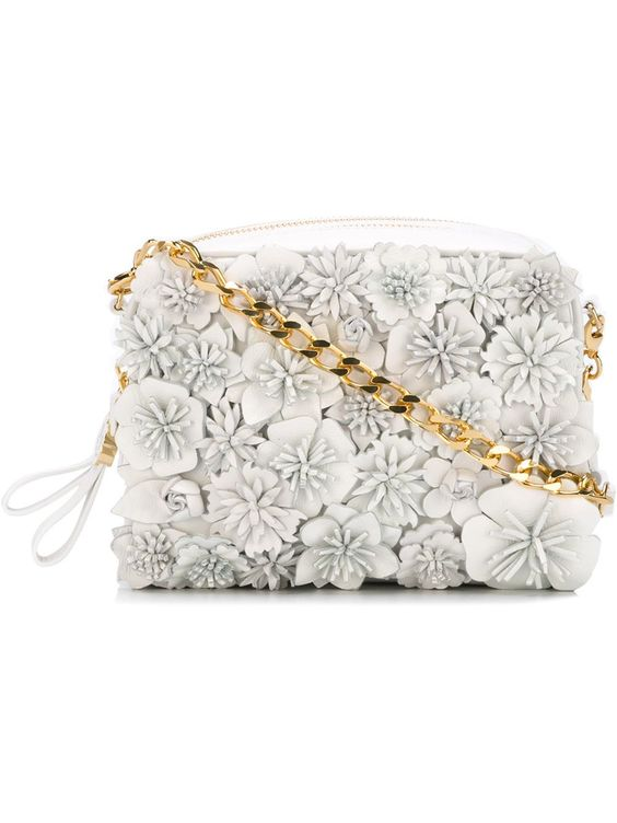 Moncler floral design crossbody bag in White