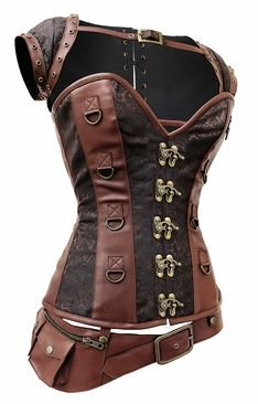 Brown Steel Boned Steampunk Corset with Jacket and Belt - reg price $130 often goes on sale for $100
