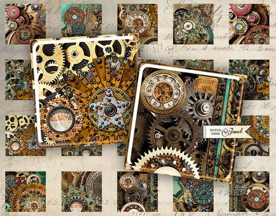 Steampunk  squares image  digital collage sheet  by bydigitalpaper