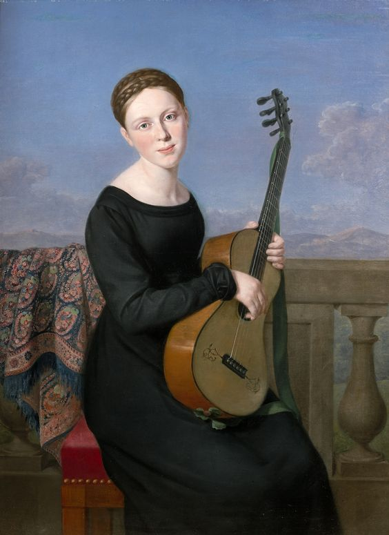 Adèle Romany (1769-1846) — Young Woman in the Black Dress, Playing the Guitar (1164×1600)