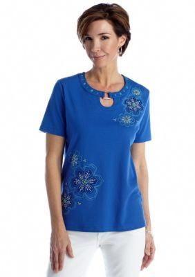 Alfred Dunner  Isle of Capri Asymmetrical Floral Tee