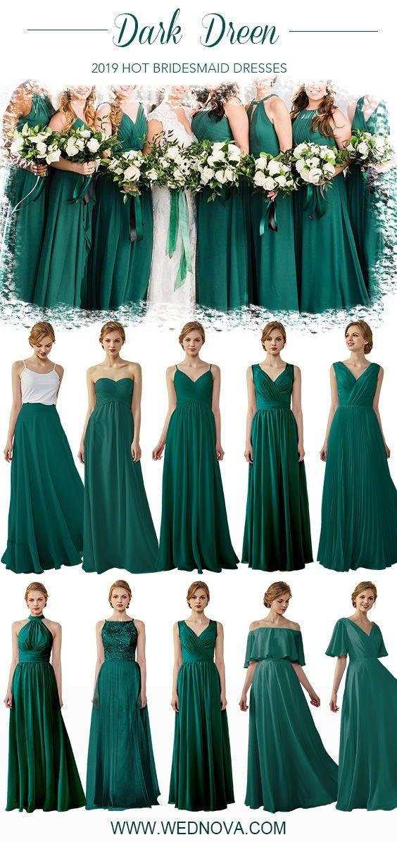 Dark Green Bridesmaid Dress Chiffon Skirt Strapless Dress Off Shoulder Dress Ove Fall Bridesmaid Dresses Green Bridesmaid Dresses Dusty Rose Bridesmaid Dresses