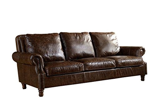 Leather English Rolled Arm Sofa Light Brown Leather Rolled Arm