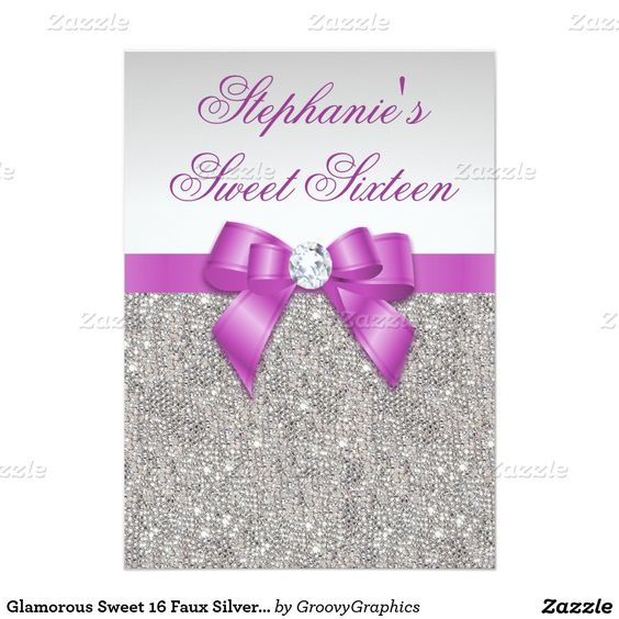 Glamorous Sweet 16 Faux Silver Sequins Purple Bow 5x7 Paper Invitation Card
