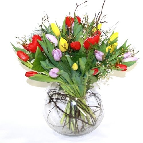 Spring Tulips Bouquet in Glass Vase ~ Lovely:)