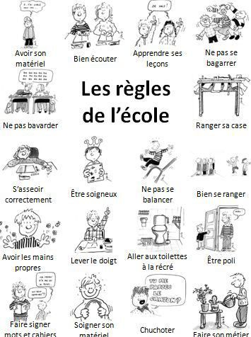 les règles de l'école- great for school vocabulary & discussing differences between French & American schools