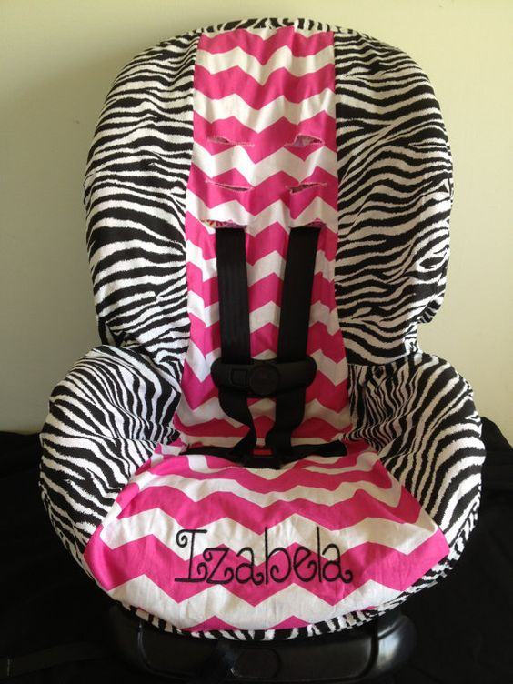 zebra pink chevron toddler car seat cover with free name personalization toddler car seat. Black Bedroom Furniture Sets. Home Design Ideas