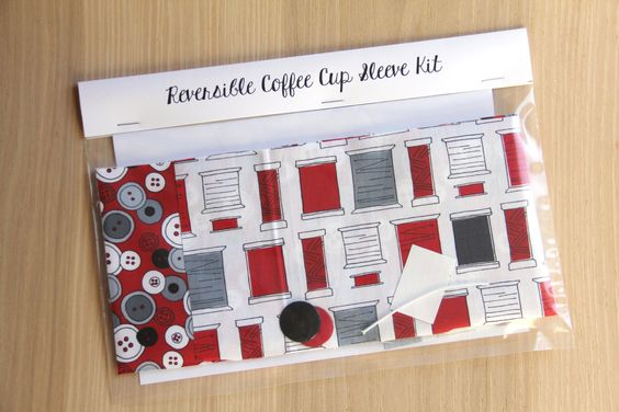DIY Coffee Cup Sleeve Sewing Kit - Sewing Thread and Buttons - Ready to Ship
