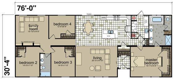 The Hillcrest Iv Built By Titan Factory Direct In San Antonio Tx View The Floor Plan Of This 4 Bedro Mobile Home Floor Plans Bathroom Floor Plans Floor Plans