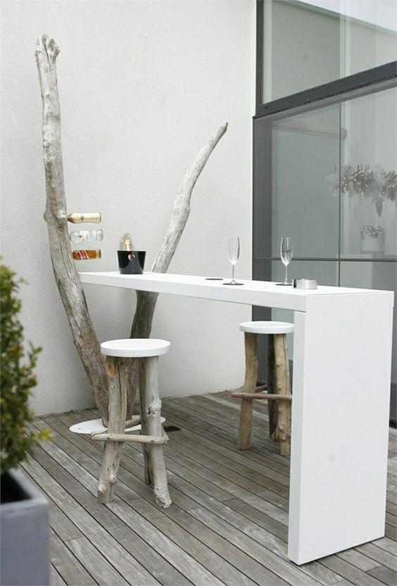 terrassengestaltung ideen privates cafe zu hause bartresen holz barhocker