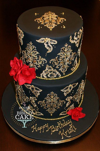 Beautiful Black Cake With Gold Damask From House Of The