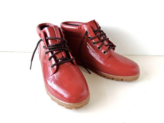 Vintage Lands End Red Rain Boots Size 7 Para la lluvia!! que me hacen mucha falta