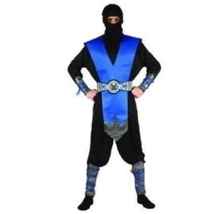Compleet rood zwart Ninja pak voor heren en tieners bestaat uit een shirt, broek, riem kap en arm- en been stukken. #ninja #ninjapak #ninjakostuum