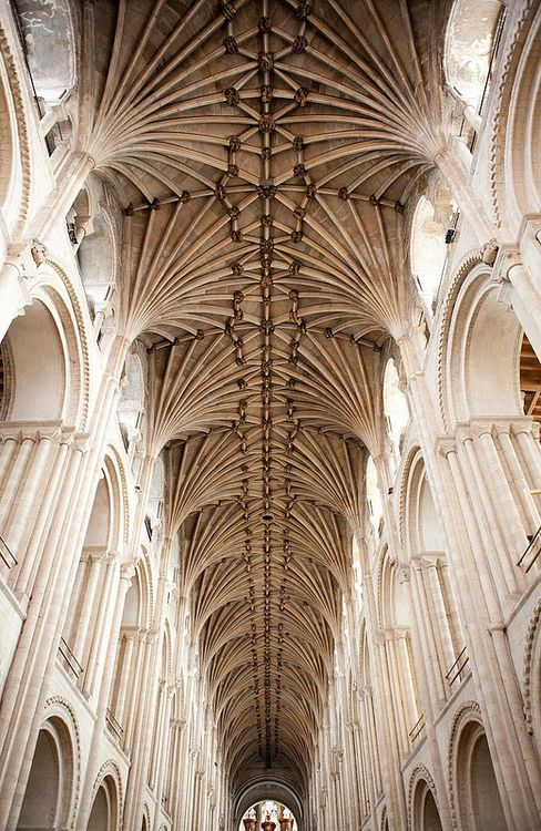Lierne vault of the east half of the nave, with roof bosses depicting stories from Creation to Samson, c. 1470. Norwich Cathedral, England.