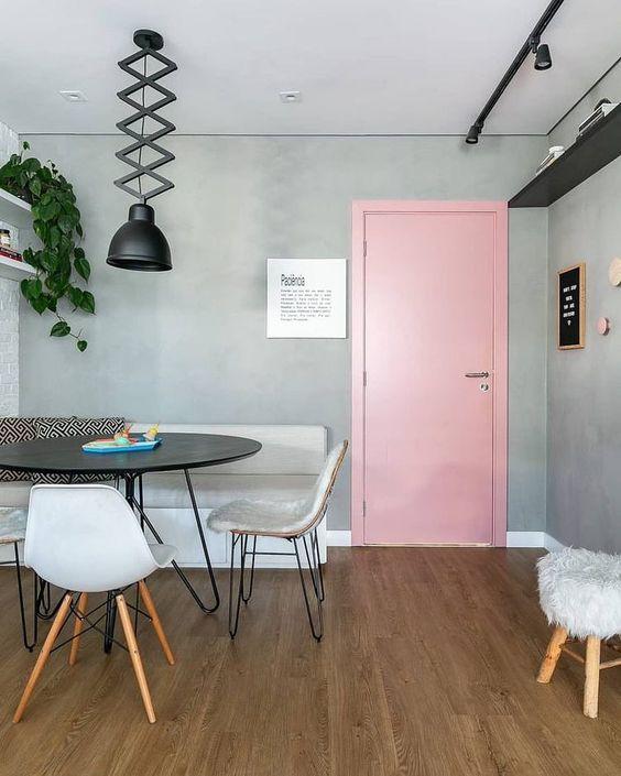 """Noiva de Evase Coisas de Casa on Instagram: """"Na vibe decor escandinava com #cadeiraseames #cantoalemao cinza e rosa! Para inspirar um apê moderno! . . . #arquitetura #decoracao…"""""""