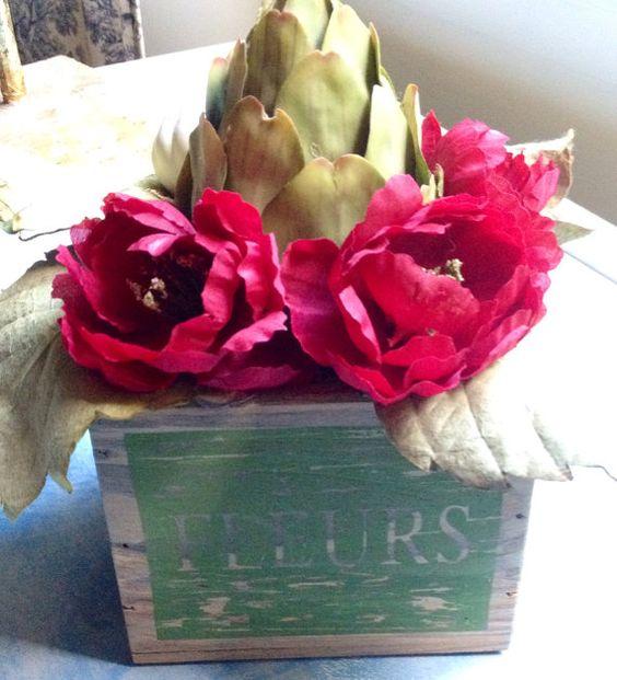 Rustic French Country Arrangement, Home Decor, Fleur distressed wood box, Unique, Artichoke